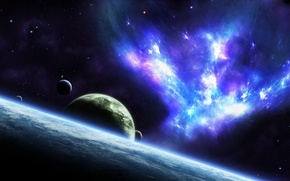 Картинка космос, звезды, планеты, арт, галактика, jkelly26