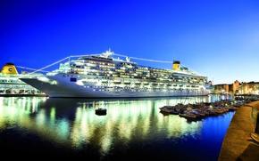 Картинка ночь, порт, luxury, Costa Concordia, круизное судно, пятизвездочный