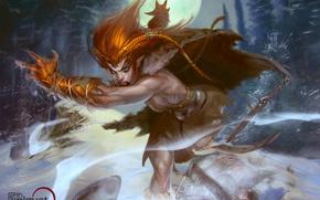 Картинка зима, взгляд, снег, ночь, фантастика, луна, волк, существо, арт, когти