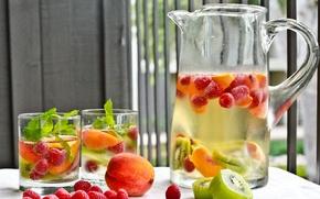Картинка стаканы, напиток, кувшин, фрукты, мята