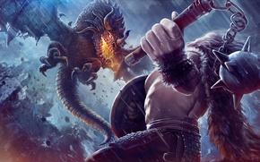 Обои фэнтази, арт, воин, fantasy, булава, дракон, полет, щит, огнедышащий, моргенштерн, огонь