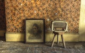 Картинка комната, радио, интерьер, картина