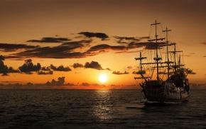 Обои закат, парусник, корабль, фрегат, море