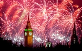 Обои Лондон, ночь, город, салют