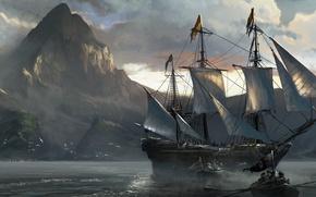 Картинка море, корабль, Assassin's Creed IV: Black Flag, Кредо Убийцы 4: Черный Флаг