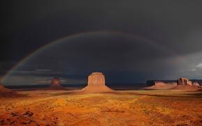 Картинка скалы, радуга, Below the rainbow