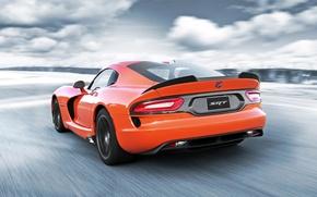Картинка небо, оранжевый, Додж, Dodge, суперкар, Viper, вид сзади, Вайпер, SRT