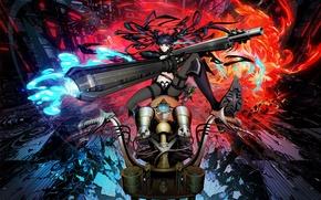 Картинка девушка, оружие, огонь, пламя, рисунок, пушки, аниме, арт, мотоцикл, fire, flame, girl, gun, байк, ружье, …