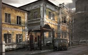 Обои авто, здание, разруха, Старое