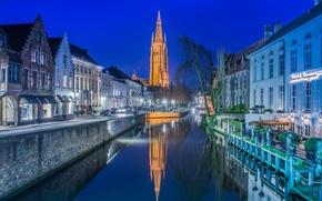 Картинка ночь, огни, башня, дома, церковь, канал, Бельгия, Брюгге