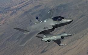 Картинка земля, истребители, полёт, F-16, Fighting Falcon, Lightning II, F-35