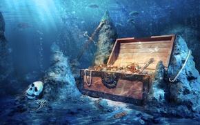 Картинка рыбы, камни, череп, глубина, меч, монеты, сундук, сокровища