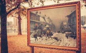 Картинка листья, деревья, город, улица, здания, картина