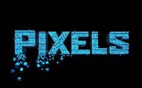 Картинка черный фон, Пиксели, Pixels, надпись