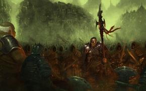 Картинка воин, черепа, топоры, оружее