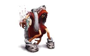 Картинка злость, кровь, волк, минимализм, красная шапочка, ярость, белый фон