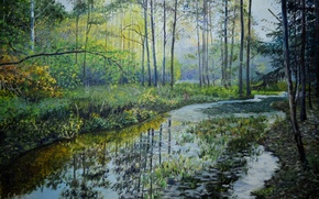 Картинка лес, вода, деревья, пейзаж, отражение, река, ручей, живопись, Луценко, лесная речушка