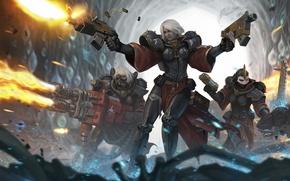 Картинка оружие, выстрелы, арт, битва, warhammer 40k, Sister of Battle, броня, пещера, девушки