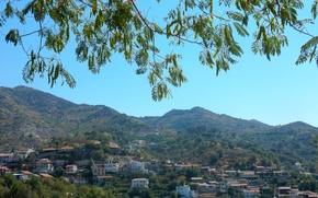 Картинка небо, деревья, пейзаж, горы, widescreen, обои, дома, wallpaper, широкоформатные, background, обои на рабочий стол, полноэкранные, …