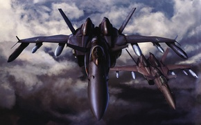 Обои самолет, небо, бомбардировщик, ракеты