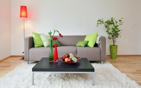 Картинка ваза, диван, цветы, столик, лампа, блюдо, гостиная, фрукты