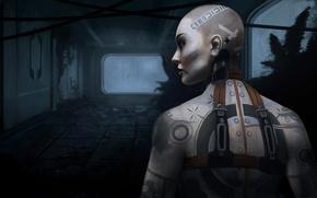 Картинка девушка, тату, арт, татуировки, Mass Effect 2, Джек, Jack
