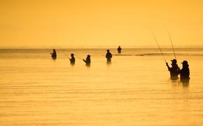 Обои море, люди, рыбалка