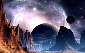 Обои небо, горы, фантастика