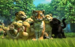 Картинка тигр, звери, игра, хищники, лев, пантера, арт, леопард, котята, гепард, малыши, друзья, львёнок