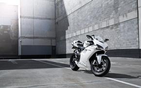 Картинка белый, полосы, тень, мотоцикл, white, блик, bike, ducati, дукати, supersport, 1198