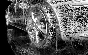 Картинка отражение, сетка, колесо, черный фон