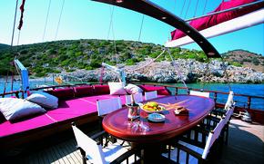 Картинка дизайн, стиль, стол, диван, интерьер, яхта, палуба, люкс, luxury yacht
