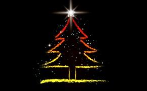 Картинка сияние, праздник, графика, звезда, елка, новый год, ёлка, черный фон, ёлочка, обои от lolita777