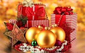 Картинка звезды, украшения, ленты, подарки, new year, stars, Merry Christmas, decoration, gifts, ribbon, Новым годом, golden …