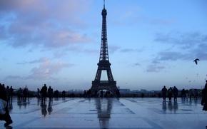 Картинка синий, Париж, башня
