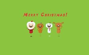 Обои праздник, green, весело, олень, Рождество, снеговик, new year, дед мороз, зеленый фон, background, merry christmas, ...
