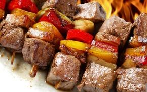 Обои шашлык.мясо, еда, овощи