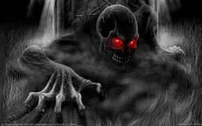 Обои черно-белая, Смерть, Andrew Dobell, монстр, череп