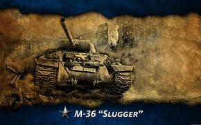 Картинка арт, танк, США, Америка, танки, WoT, World of Tanks, пт-сау, M36 Slugger