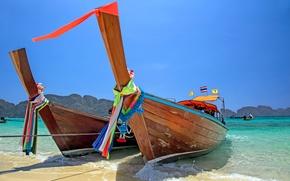 Картинка море, пляж, тропики, берег, лодка, beach, sea, shore, fishing boats