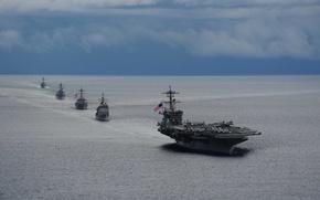 Картинка military, marine, american flag, naval, USS Theodore Roosevelt, American navy, Nimitz class, nuclear propulsion, RIM-116 …