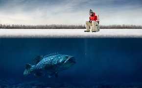 Картинка лед, юмор, рыбак, ice, крючки, fisherman, humor, big fish, funny guy, большая рыба, Hooks, забавный …