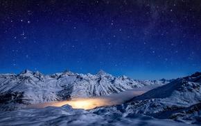Обои winter, sky, Pennine Alps, light, night, lagoon nebula, Zermatt. Switzerland, Gorner Glacier, Gornergrad, snow, stars