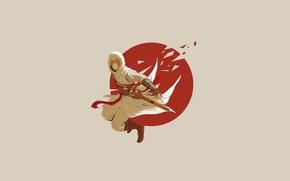 Картинка assassin's creed, минимализм, игра, убийца, капюшон, клинок, прыжок, простой фон, альтаир, ассасин крид, бежевый фон, ...