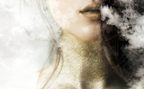 Картинка девушка, фон, дым