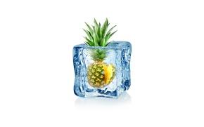 Картинка капли, абстракция, воды, арт, ice, куб, ананас, water, льда, fruit, frozen, drops, pineapple, white background, …