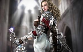 Картинка девушка, меч, фэнтези, арт, храм, щит
