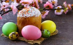 Картинка цветы, ветки, праздник, доски, яйца, Пасха, кулич, салфетка, Easter, крашенки