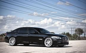 Обои небо, облака, бмв, BMW, чёрная, black, 7 Series, 360 three sixty forged, высоковольтные провода