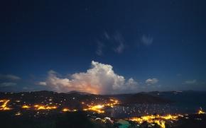 Картинка небо, ночь, огни, звёзды, sky, night, stars, Западная Австралия, Western Australia, Coral Bay, Корал Бэй